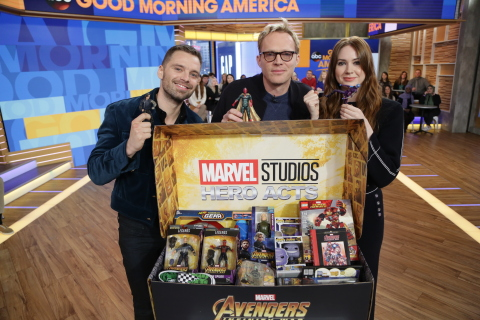"Marvel Studios' ""Avengers: Infinity War"" cast Sebastian Stan, Paul Bettany and Karen Gillan support 'Marvel: The Universe Unites' #HeroActs with their new action figures and toys. (Photo: Business Wire)"