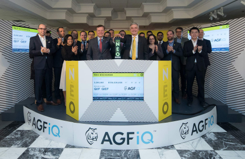"""AGF Investments Inc. (""""AGF""""), including AGF Management Limited Chairman and Chief Executive Officer Blake Goldring, joined Jos Schmitt, President and Chief Executive Officer, NEO, to open the market in celebration of two new AGFiQ Exchange-Traded Funds (ETFs) on the NEO Exchange. The AGFiQ Enhanced Global ESG Factors ETF (QEF) and the AGFiQ Enhanced Global Infrastructure ETF (QIF) commenced trading on February 12, 2018. (Photo: Business Wire)"""