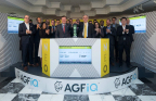 "AGF Investments Inc. (""AGF""), including AGF Management Limited Chairman and Chief Executive Officer Blake Goldring, joined Jos Schmitt, President and Chief Executive Officer, NEO, to open the market in celebration of two new AGFiQ Exchange-Traded Funds (ETFs) on the NEO Exchange. The AGFiQ Enhanced Global ESG Factors ETF (QEF) and the AGFiQ Enhanced Global Infrastructure ETF (QIF) commenced trading on February 12, 2018. (Photo: Business Wire)"