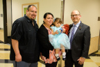CHLA heart patient Angelique Garcia with her parents Luis and Maria, and pediatric cardiologist Jay Pruetz, MD. Photo Credit: Children's Hospital Los Angeles