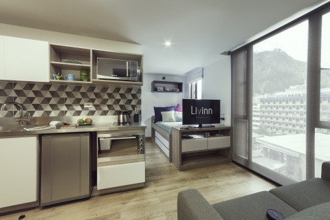 Livinn Calle 18 Studio (Bogotá): Residents at CA Ventures' Livinn Calle 18 in Bogotá, Colombia have a choice of studio (shown) or one-, two-, or three-bedroom suites, most with private baths. Livinn Calle 18 opened in 2017. (Photo: Business Wire)