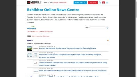 モバイル・ワールド・コングレス2018の出展社オンライン・ニュースセンター(写真:ビジネスワイヤ)