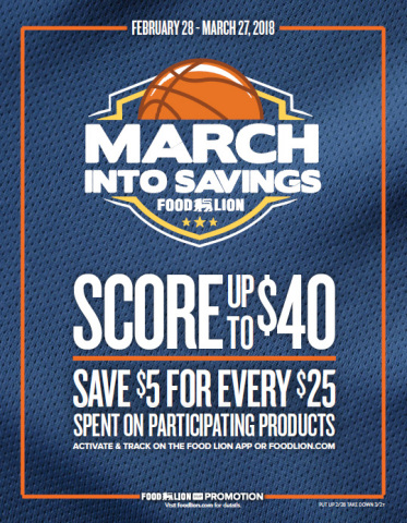 "Customers Can Earn up to $40 during Food Lion's ""March Into Savings"" Promotion through March 27; Shoppers Can Receive $5 Digital MVP Rewards for Every $25 They Spend on Participating Products (Photo: Business Wire)"
