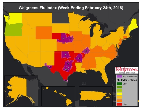Walgreens Flu Index for Week Ending February 24, 2018 (Graphic: Business Wire)