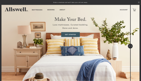 Allswell unveils its Debut Collection of luxe mattresses and bedding on AllswellHome.com (Photo: Business Wire)