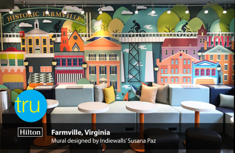 Tru by Hilton Farmville, Virginia's lobby mural designed by Indiewalls' Susana Paz