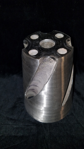 MORE THAN 10 TIMES FASTER - LENS Powder Fed Directed Energy Deposition technology built this 3D metal part in 18 hours compared to 240 hours with Powder Bed Fusion Technology. (Photo: Optomec)