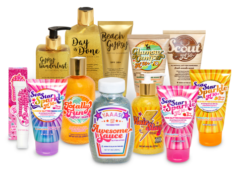Glitterally Awesome! Sunshine & Glitter's NEW Awesome Sauce and entire SPF and body care line. Pure Fun. (Photo: Business Wire)