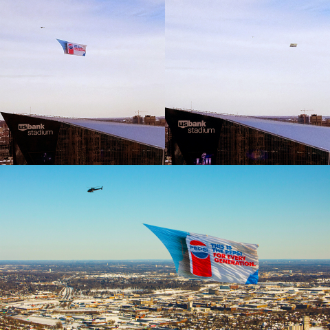 Jumbo helicopter banner vs. plane-towed banner Minneapolis, MN (Photo: Business Wire)