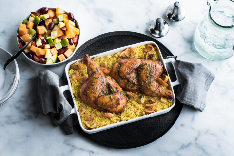 Moroccan Citrus Roasted Chicken - Zesty pan roasted whole chicken seasoned with bright Mediterranean herbs and spices including cinnamon, clove, turmeric and ginger. Served with new a side, Turmeric Rice. (Photo: Business Wire)