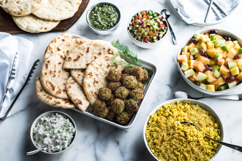 Baked Falafel - Baked falafel with Greek tzatziki, Israeli skhug, Mediterranean relish and fresh dill. Served with pita bread. (Photo: Business Wire)