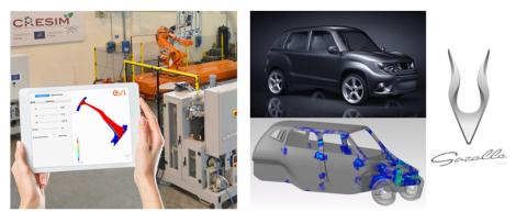 À gauche: En partenariat avec CANNON, ESI a commencé à déployer son approche Hybrid Twin™ appliquée à la chaîne de fabrication RTM (Resin Transfer Molding) - À droite : La voiture conçue par Gazelle Tech, développée et virtuellement testée avec ESI Virtual Performance Solution (Photo: Business Wire)