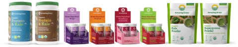 Amazing Grass™ launches new Organic Protein & Kale, Organic Green Powder Smoothie Boosters, and Green Superfood Effervescents in Energy and Hydrate Functions. (Photo: Business Wire)