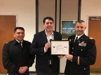 Col. Daniel Jaquint (right) and MSG Anthony Taylor, Public Affairs Specialist U.S. Army Reserve (left) present Zebra Technologies Senior Vice President Joseph White with the Patriot Award. (Photo: Business Wire)