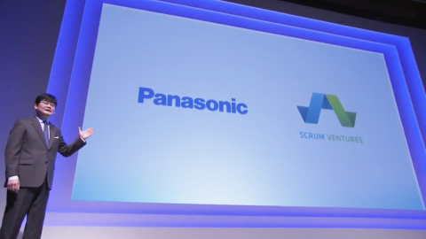 Tetsuro Homma, Senior Managing Executive Officer of Panasonic Corp., introduced Scrum Ventures that is collaborating with Panasonic to form a joint venture, BeeEdge. (Photo: Business Wire)