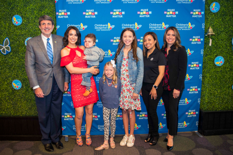 Children's Hospital Los Angeles launched its third annual Make March Matter fundraising campaign on Thursday, March 1, 2018. Pictured (L-R): CHLA President and CEO Paul S. Viviano; ESPN personality Victoria Arlen; CHLA patient Pierce Kelly (in Arlen's arms); CHLA patient Saylor Pierson; CHLA patient Grace Rose; Panda Express Panda Cares Manager Nina Orsorio; CHLA vice president of Corporate partnerships Dawn Wilcox. (Photo courtesy CHLA)