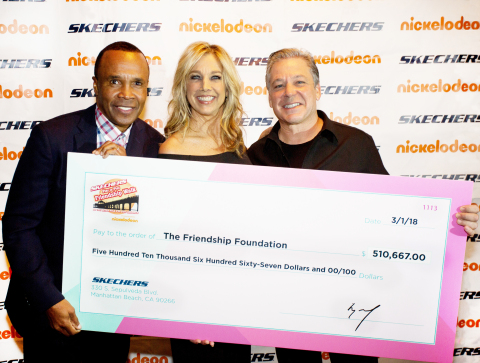 Sugar Ray Leonard, Denise Austin and Skechers President Michael Greenberg at the 2018 SKECHERS Friendship Walk Check Presentation (Photo: Business Wire)