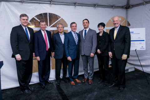 From left to right: William D. Provine (Delaware Innovation Space), John Riley (The Delaware Prosperity Partnership), Ving Lee (Adesis), Governor John Carney, Andrew Cottone (Adesis), Julie Brown (UDC), Sidney Rosenblatt (UDC) (Photo: Business Wire)