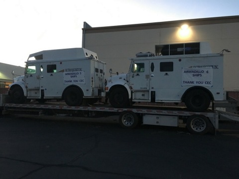 Efficient Drivetrains completes its CEC Program collaboration. The company integrated its EDI PowerDrive 6000 into a fleet of International Armored Trucks to deliver a Plug-in Hybrid Electric version with RNG range extension. (Photo: Business Wire)