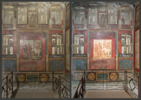 Casa dei Vettii murals in Pompeii illuminated by conventional LEDs (left) and SunLike Series natural spectrum LEDs (right) (Photo: Business Wire)