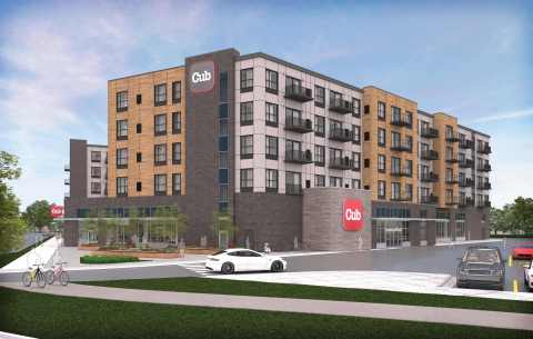 CUB to open a new 46,000-square-foot grocery store anchoring a future apartment development in Minneapolis' Longfellow neighborhood (Graphic: CUB)