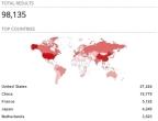 Memcached global spread (Shodan).
