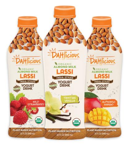 DAHlicious organic, almond milk lassi India-style yogurt drinks.