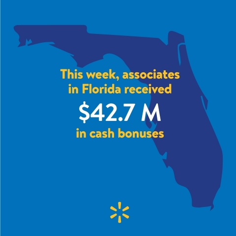 Walmart Associates in Florida To Receive Approximately $42.7 Million in Cash Bonuses (Graphic: Business Wire)