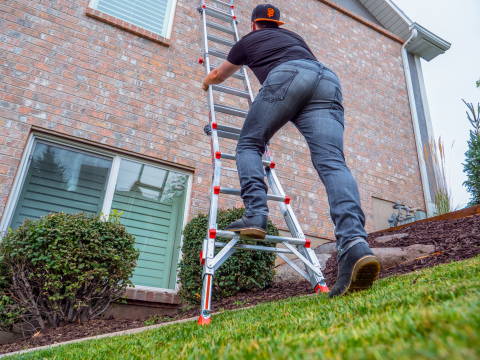 The Little Giant Leveler adjusts easily to uneven ground. (Photo: Business Wire)