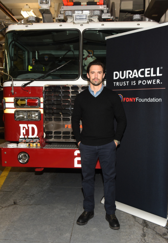 Milo Ventimiglia teamed up with Duracell to visit the FDNY on March 8, 2018 in New York, to remind everyone to change their smoke detector batteries when changing their clocks on Daylight Saving, this Sunday. Milo lent his voice to a light-hearted PSA Duracell created to share this simple yet powerful message. While fires can't always be prevented, you can have the trusted power of Duracell to help alert you. Check out the PSA at www.facebook.com/Duracell. (Photo: Business Wire)