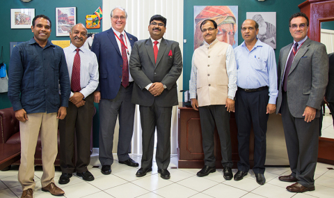 St. George's University welcomed His Excellency, Shri Biswadip Dey, High Commissioner of India (center), for a visit in August 2017. (Photo: Business Wire)