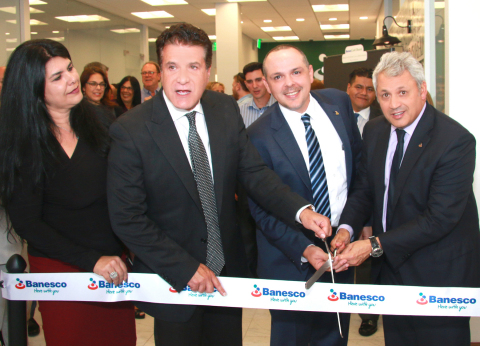 Hialeah city officials and Banesco USA executives cut the ribbon to inaugurate the bank's new Hialeah branch on March 7. Pictured from left: City Council member Isis Garcia-Martinez, Mayor Carlos Hernandez, Banesco USA Senior Vice President and Head of SMB Lending & Branches José E. Lopez, and Banesco USA President and CEO Jorge Salas. (Photo: Business Wire)
