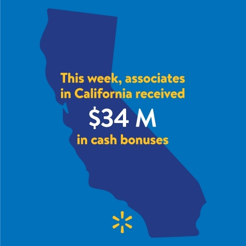 Walmart Associates in California To Receive Approximately $34 Million in Cash Bonuses (Graphic: Business Wire)
