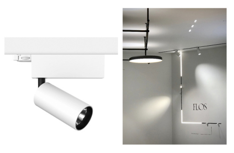 FLOS Architectural UT Spot equipped with SunLike LEDs (left), FLOS luminaires equipped with SunLike  ...