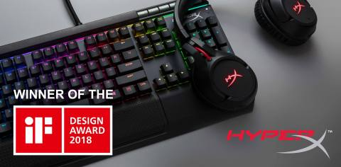 HyperX Cloud Flight Wireless Gaming Headset and HyperX Alloy Elite RGB Gaming Keyboard Win 2018 iF DESIGN AWARDs in Gaming Hardware Category. (Graphic: Business Wire)