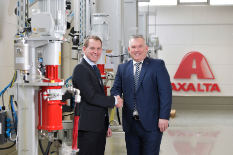 (From left to right) Kevin Weiss and Thomas Mangold of Axalta at the opening of the Axalta Color Solutions Center in Germany.
