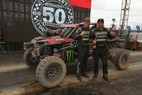 Justin Lambert (right) celebrates Mint 400 victory with his navigator/co-driver Mitchell Alsup (left) (Photo: Business Wire)