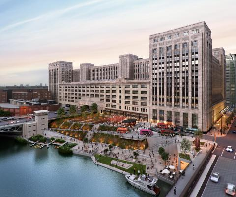"""601W Companies is redeveloping the old main post office - The Post Office - in downtown Chicago. It will be cooled by Enwave Chicago's """"ice battery"""" district cooling system. (Photo: Gensler)"""