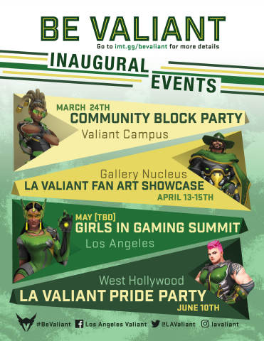 The Los Angeles Valiant present 'Be Valiant' signature events. (Graphic: Business Wire)