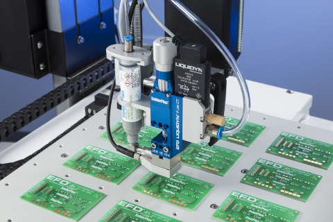 The Liquidyn P-Jet SolderPlus jetting system from Nordson EFD includes a jet valve and pre-qualified jetting solder paste formulations. (Photo: Business Wire)