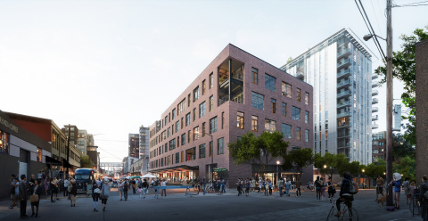Exterior rendering of The Heartline, home to Vacasa's new headquarters located in Portland, Oregon's historic Pearl District. (Image by Mir; Design by Mithun)