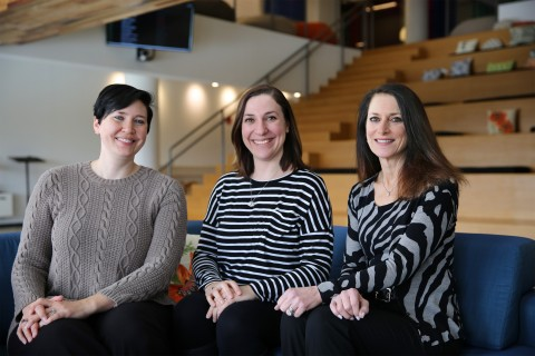Pictured from left: Tessa Raum, head of people experience; Jess Liberi, head of product; and Susan M ...
