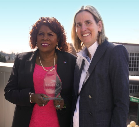 Symetra CEO Margaret Meister (r) presented Delois Howell with the company's eighth-annual CEO Servic ...