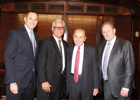 (L-R) Bryan Calka and Bucky Dent from the NY Yankees and Maurice R. Greenberg and Howard Smith from ...