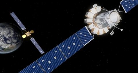 Artist rendering of Orbital ATK's next generation of in-orbit satellite servicing technology, the Mi ...