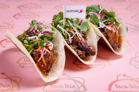 Aramark, the award-winning food and beverage partner of eight Major League Baseball teams, unveiled its new menu for the 2018 season, which includes taco trios, gourmet hot dogs, vegan eats and more. (Photo: Business Wire)