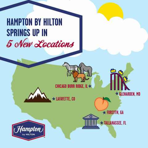 Hampton by Hilton adds five new hotels to its portfolio in time for Spring travel season. (Graphic: Business Wire)
