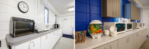 Freshly painted walls and matching microwaves create a functional workspace that is much more than a place to heat up lunch. On Thursday, March 15, 2018, Staples revealed the transformation of the Mote Marine Laboratory & Aquarium after it underwent a month long renovation valued at over $50,000. (Photo: Business Wire)