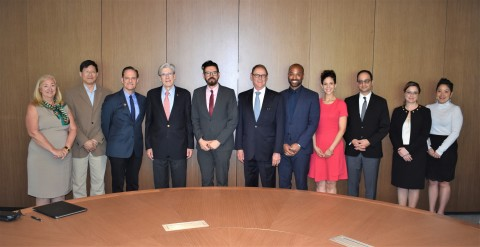 March 2018-Participants at the Miami, FL meeting to formally announce the launch of the AHF Global Public Health Institute at the University of Miami. Left to right are: Cindy L Munro, Dean, School of Nursing and Health Studies; Otto Yang, Researcher at UCLA AIDS Institute; Michael Weinstein, President of AHF; Julio Frenk, President of the University of Miami; Jorge Saavedra, Executive Director of the AHF Global Public Health Institute at UM; José Szapocznik, Professor of Public Health Sciences, UM Miller School of Medicine; Hansel Tookes, Assistant Professor of Medicine & Director, IDEA Exchange, UM Miller School of Medicine; Adriane Gelpi, Assistant Professor of Public Health Sciences, UM Miller School of Medicine; Sunil Rao, Interim Chair, Department of Public Health Sciences, UM Miller School of Medicine; Andrea Calo, Executive Director, Major Gifts, UM Miller School of Medicine; Mitzi Tanaka, Director of Research Support, Department of Public Health Sciences, UM Miller School of Medicine (Photo: Business Wire)