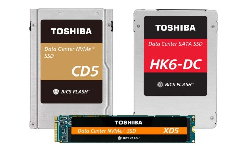 Available in multiple form factors, Toshiba Memory Corporation's new lineup of data center SSDs feature the company's BiCS FLASH 64-layer 3D flash memory. (Photo: Business Wire)
